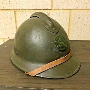 WW2 French Army M26 Adrian Helmet w Artillery Badge Insignia Liner & Chinstrap