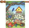 Toland Birdhouse Daisies 28 x 40 Colorful Spring Bird Flower House Flag