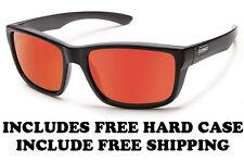 Suncloud Mayor Sunglasses - Matte Black/Red Mirror - Free Hard Case + Free Ship