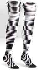 Sock It To Me 1116 Black White Stripped Over the Knee Socks One Size
