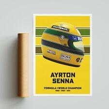 More details for ayrton senna helmet poster print formula 1 motorsport a4 a3 a2 wall art f1
