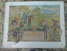 Affiche diplôme du plus vieux vélo Peugeot 1921, vélo de 1905, Maurice Neumont