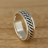 925 Sterling Silver Celtic Twist Spinning Thumb Band Ring 7mm Wide Mens/Womens