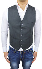 Vest Sleeveless Man A.Gilles Winter Grey Striped Check 100% Made IN Italy