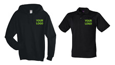 Embroidered with Logo Work Wear Set Polo Hoodie Black XL Unisex Package Multibuy