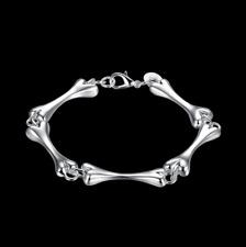 Mens Womens 925 Sterling Silver 8mm Bones Link Chain Charm Bracelet #BR391