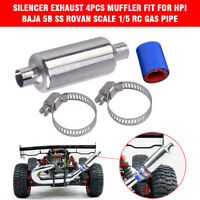 4pcs Silencer Exhaust Muffler Fit for HPI BAJA 5B SS ROVAN Scale 1/5 RC Gas Pipe
