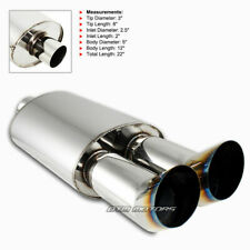 "3"" DTM Dual Burnt Tip Stainless 2.5"" Inlet Weld-on Exhaust Muffler For NISSAN"