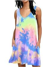 AUSELILY Women Summer Casual T Shirt Dresses Beach Cover up, Blue, Size Large