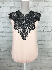 Julien MacDonald Women's Top Sleeveless Smart Pink Black Size 10 US 6 RP £35