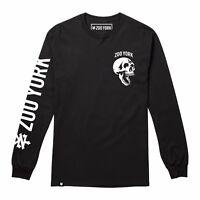 Mens - Zoo York - Skeleton Head Skull - Long Sleeve Skate T-Shirt Tee - Black