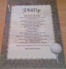 Personalised Gift - First Name Meaning Certificate - Birthday - Golf background