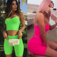 USA Women 2 Piece Outfits Sleeveless Crop Top Pants Set Casual Jumpsuit Rompers