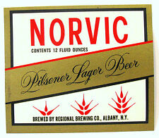 Regional Brewing Co NORVIC - PILSENER LAGER BEER label Albany, NY  12oz