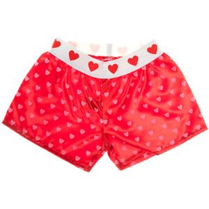 16 inch Red Pink Heart Boxer Shorts - teddy bear stuffed animal pants underwear