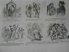 Gravure 1874 - Humour caricature Reapparition de la Lanterne