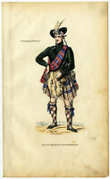 C. 1850, Antique wood engraving in contemp. coloring, Highland clan chief