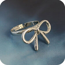 Cute adjustable silver tone alloy bow ring