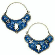 Antiqued Gold Plated & Blue Enamel Steel Mirror Boho Gypsy Hoop Earrings