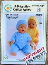 1 Dolls knitting pattern  by Daisy-May for Baby Born No 294 16 to 18 inch