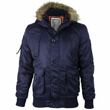 Mens Crosshatch Ma1 Bomber Faux Fur Hood Diamon Quilted Lined Jacket Parka Coat Total Exlipse Medium
