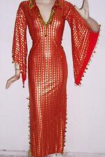 Egyptian Belly Dance Baladi Galabeya Women Dress Dancing Costume Red& Gold