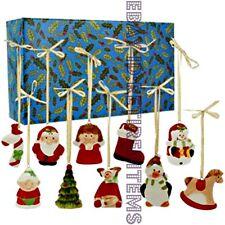 MR. CHRISTMAS Porcelain Ornaments Set of 10 Santa Mrs Claus Snowman Penguin Tree