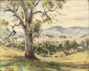 """Ambrose Sylvester Griffin (Aust 1912-1980) """"Amongst The Ranges"""" Oil Painting"""