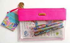 Lilly Pulitzer Agenda Bonus Pack Stickers Pens Pen Holder Zippered Pouch Pink