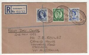 Great Britain 1953 registered FDC Southampton to Australia annotated SG CV £170