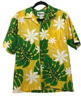 Howie Hawaiian Shirt Small Mens Green Yellow Palm Leaves Flowers Cotton Vintage