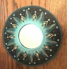 """BALI GREEN FLAMES MIRROR 8"""" Hand Carved & Painted NEW!"""