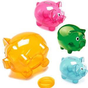 Piggy Bank Money Box Saving Coins Cash Fun Gift Plastic Pig Safe Clears Kids UK