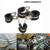 """20Pcs 1"""" Stainless Steel Car Cable Clamp Rubber Cushioned Insulated Tube Holder"""