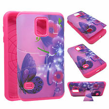For Samsung Galaxy S5 mini KickStand Hybrid Purple Flower Butterfly Case Cover