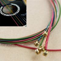 6pcs Fashion Rainbow Colorful Color Strings Set Tunes Stable for Acoustic Guitar