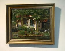 Indistinctly Signed Original English Antique Oil Painting Country Cottage Garden