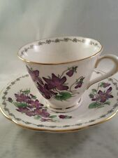 Tuscan English Bone China Teacup and Saucer  Violet Pattern