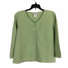 Hot Cotton WomensTop Sz Petite Medium 3/4 Sleeve Linen Blend Sage Green