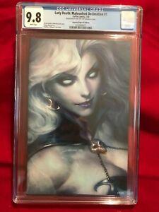 Lady Death: Malevolent Decimation 1 ARTGERM VIRIGIN CGC 9.8 700 Print Run Coffin