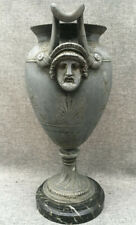 Antique Roman Greek French copy Spelter Bronze Urn Vase Marble Base Neoclassical