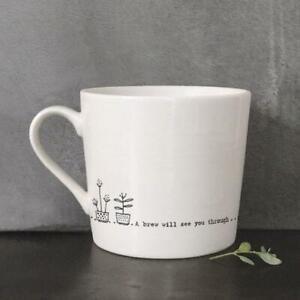 White Porcelain Mug - A Brew Will See You Through - Boxed Mug - East Of India