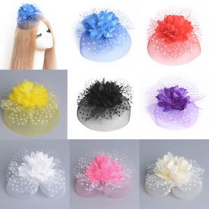 Women Lace Flower Hat Fascinator Hair Clips Accessory Ascot Racing Wedding Party
