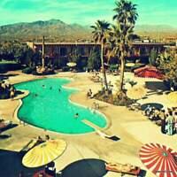 Mid Century Art Print 12x12, 1960s Palm Springs Motel Pool , Modern Wall Art