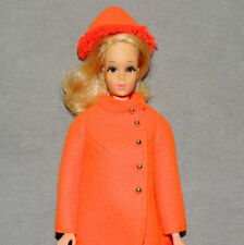 Barbie 1970s Doll & Clothes VINTAGE Walking JAMIE Fiery Felt Coat & Hat