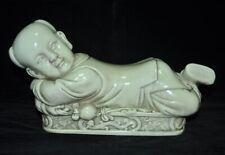 Chinese Dehua porcelain Auspicious cute doll statue lucky pillow Headrest Pillow