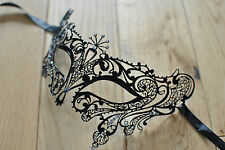 NEW TEARDROP VENETIAN MASK.BLACK METAL MASK.MASQUERADE/PROM/BALL/HALLOWEEN.