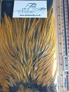 Sunburst Yellow Badger Freshwater Rooster Saddle Cape Fly Tying Materials