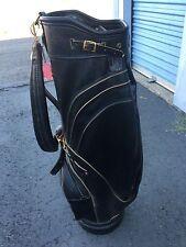 Rare Vintage MacGregor Black Faux Leather Golf Bag - Single Strap, 3-Way Divider