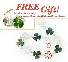 Connemara Marble Shamrock Link Bracelet + Free Gift! #1022